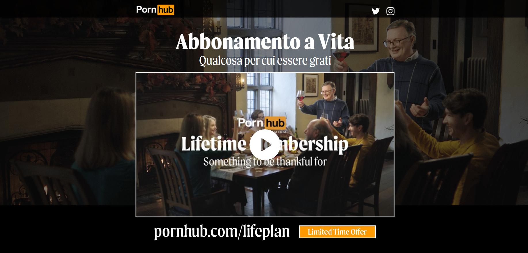 Black Friday, Pornhub e la sua offerta a vita